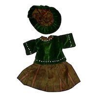 Cute Velvet and Silk Small Doll Dress with Hat