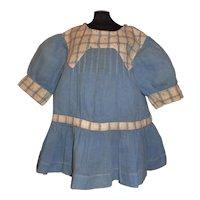Cute Blue Cotton Chambray Drop Waist Chunky Doll Dress