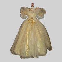 Pretty Yellow Silk Vintage Fashion Doll Dress,