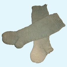 Pair of Antique Blue Wool Knit Doll Stockings
