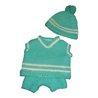 Cute Green and White Set for a Small Boy Doll, Teddy Bear