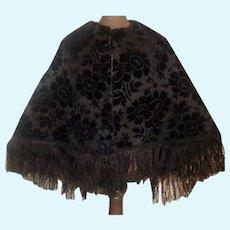 Lovely Black Velvet Floral Fashion Doll Cape, Silk Fringe