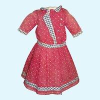 Sweet Early Maroon Print Cotton Doll Dress