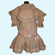 Sweet Pink Organdy Antique Drop Waist Dress for a French or German Bebe