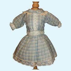 Pretty Blue Plaid Cotton Doll Dress