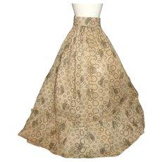 Early Brown Cotton Print Doll Skirt, Tiny Waist