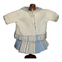 Sweet Blue and White Dress and Jacket for a Small Doll