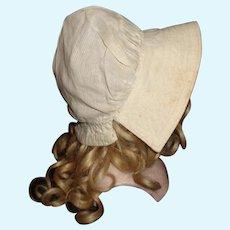 White Cotton Prairie Doll Bonnet