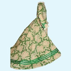 Lovely Green Floral Silk French Fashion Doll Dress