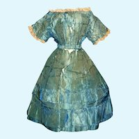 Early Antique Blue Stripe Silk Doll Dress