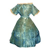 Early Antique Blue Stripe Silk Doll Dress