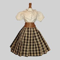 Early Plaid Doll Skirt w White Blouse