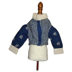 Nice Blue and White Print Cotton Doll Blouse