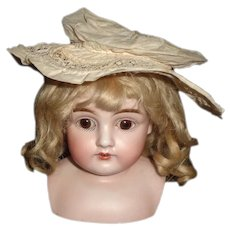 Small Off White Cotton and  Lace Doll Hat