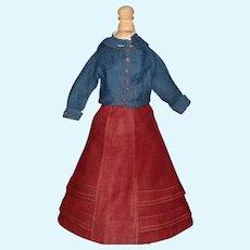 Wonderful Antique Wool Skirt and Blouse, China, Fashion, Lady