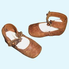 Pair of Antique Brown Leather Bebe Doll Shoes
