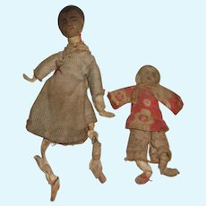 Pair of Tiny  Early Rag Oriental Dolls Mother and Child