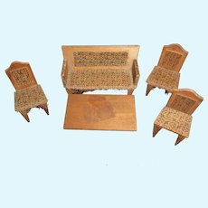 Early Doll House Wood Couch and Chairs with Fringe