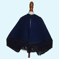 Pretty Dark Blue French Fashion Doll Cape w Fringe