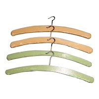 4 Ear;ly Wood Painted Doll Clothes Hangers