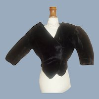 Antique Black Velvet French Fashion Doll Bodice