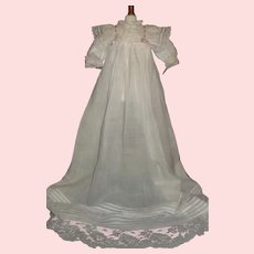 Pretty Antique  Doll Gown, Lace and Ribbons