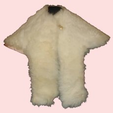 Lovely White Fur Doll Capelet w Pink Silk Lining