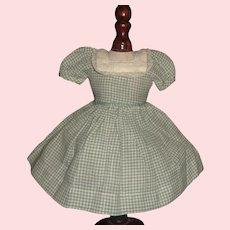 Small Green Check Cotton Doll Dress
