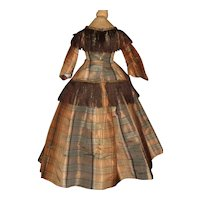 Lovely Brown Plaid Silk 2 Pc Doll Dress, Fashion, Parian