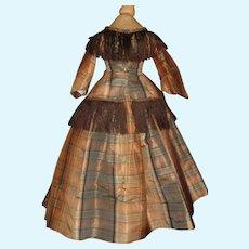 Lovely Brown Plaid Silk 2 Pc Doll Dress, Fashion, Parian