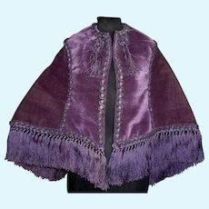 Lovely Purple Velvet Fashion Doll Cape w Purple Fringe