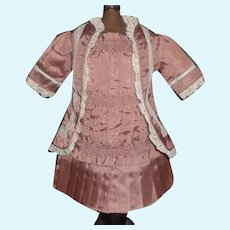Pretty Mauve Moire Silk French or German Bebe Dress