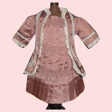 Pretty Mauve Moire Silk French or German Bebe Dress