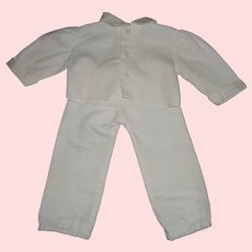 White Cotton Boy Doll Shirt and Pant Set