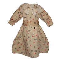 Cute Brown Print Cotton Doll Dress, Crocheted Lace