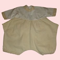 Adorable Pale Yellow and White Romper for a Large Doll.