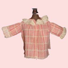 Early Pink and White Lace Trimmed Doll Blouse