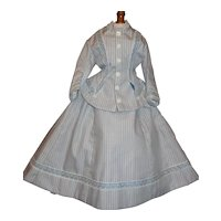 Lovely Blue Stripe 2 Pc French Fashion Doll Dress