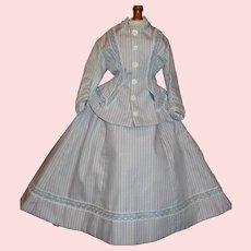 Lovely Blue Stripe 2 Pc French Fashion Doll Dress