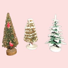 3 Small Doll House Size Christmas Trees