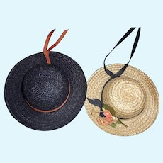 2 Small Straw Doll Hats