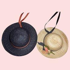 2 Small Straw Doll Hats
