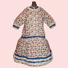 Cute Red Flowered Cotton Doll Dress