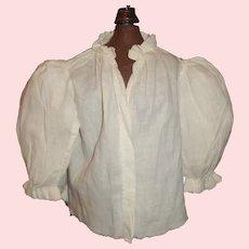 Nice White Cotton Antique Doll Blouse