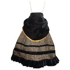 Lovely Early Fashion Doll Skirt with Velvet Apron