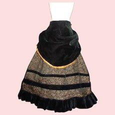 Lovely Early Fashion Doll Skirt with Velvet Apron