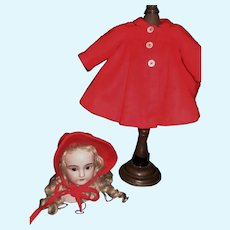Bright Red Wool Doll Coat and Bonnet