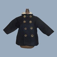 Wonderful Early Wool Doll Coat, Lace Collar