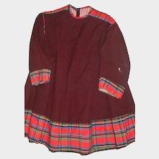 Child's Dark Maroon Early Wool / Silk Dress