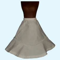 Lovely Antique White Cotton Pique French Fashion Doll Skirt w Apron